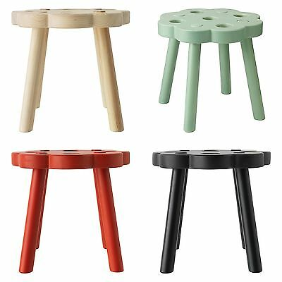 IKEA RYSSBY 2014 Stool FOOTSTOOL Solid Wood RED Black GREEN 0r Natural Pine