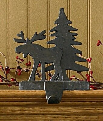 Metal Moose And Tree Christmas Stocking Holder/hanger Iron Finish Color