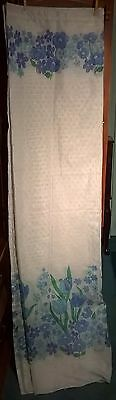 vintage white blue flowers sheer fabric shower curtain