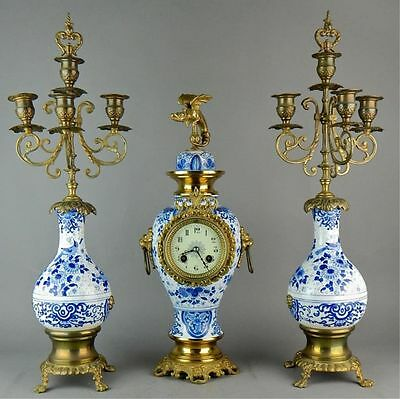 French Porcelain Three Piece Urn Clock Set Gilt Bronze Chinese Motif Style