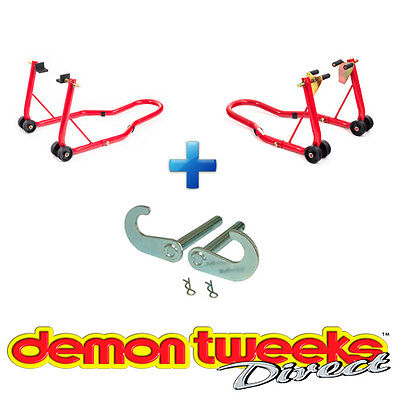 Warrior Motorcycle / Bike Front And Rear Paddock Stands & Bobbin Hook Combo Kit