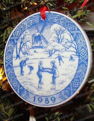 Royal Copenhagen, The Old Ice Skating Pond (1989) Porcelain Christmas Ornament