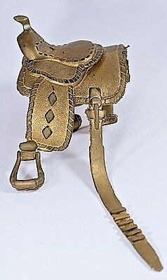 Gold Colored Western Riding Saddle for Doll and/ or Model Toy HORSE