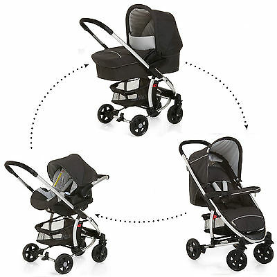New Hauck Miami 4 Trio Caviar / Silver Travel System Pushchair Carseat Carrycot