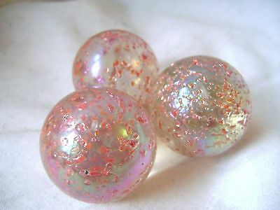 NEW 3 PRINCESS 42mm PINK GLASS MARBLES TRADITIONAL GAME COLLECTORS HOM