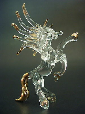 Glass PEGASUS HORSE, Flying Kicking Horse, Painted Glass Figure, Animal Ornament