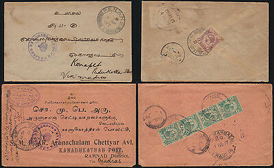 STRAITS SETTLEMENTS 1917 mails KGV PENANG SINGAPORE to South India censor Madras