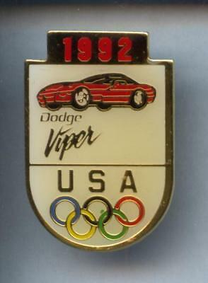 Rare Pins Pin's .. Olympique Olympic  Albertville 92  Auto Car Dodge ¤3S
