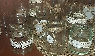 6 Wedding Table Centerpieces Rustic/Vintage/Barn  Decorated Jars for Tealights