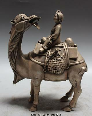 """8"""" China Chinese Silver Dynasty Palace musician Lady On Camel Animal Statue"""