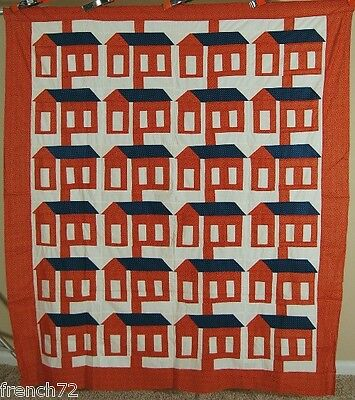 GORGEOUS Vintage 1880's Red, White & Blue Schoolhouse Antique Quilt Top ~MINT!