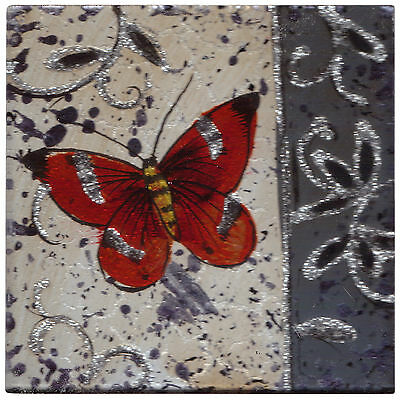 Set of 4 Square Glass Drinks Coasters - Clematis Butterfly Orange