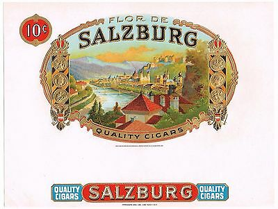 Cigar Box Label Vintage Inner Original Embossed Salzburg Austria C1930S