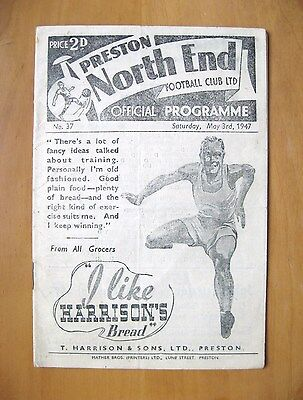 PRESTON NORTH END v BLACKPOOL 1946/1947 *Excellent Condition Football Programme*