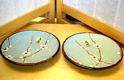 "2 PC 3.75"" Blue Cherry Blossom Japanese Style Dinnerware Plate Dishes Q24/BP"