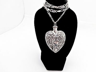 """Antique Hand Chased Sterling Silver Heart Form Perfume Scent Bottle Pendant,2"""""""