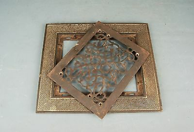 """Architectural Salvage Iron 2 pc Heat REGISTER VENT GRATE Cover Frame 14""""x12"""""""