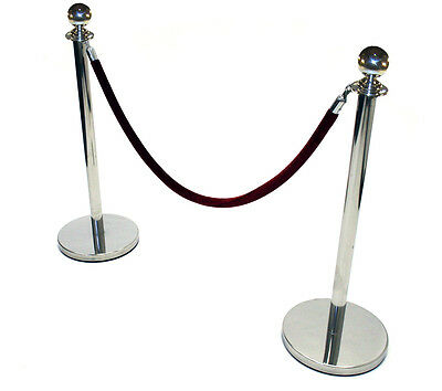 2 x Stainless Steel Barrier Posts with one red velvet rope. Queue dividers