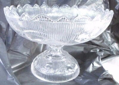 antique Bellflower Scalloped Edge Footed Flint Glass Compote Bowl USA c1860