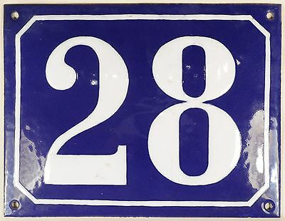 Large old blue French house number 28 door gate plate plaque enamel steel sign