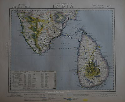 India On Twelve Sheets For Letts's Popular Atlas 1883.