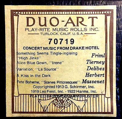 DUO-ART (ReCut) CONCERT MUSIC FROM DRAKE HOTEL 70719 Reproducing Piano Roll