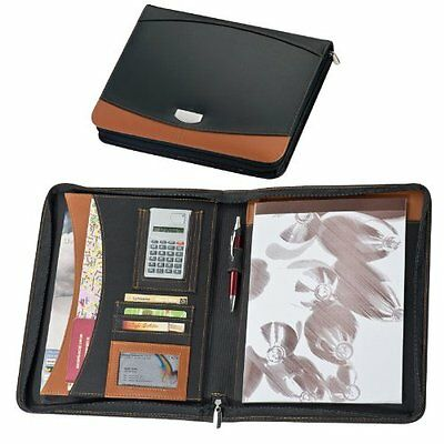 Executive A4 Bonded Leather Conference Documents Folder + Calculator + Notepad