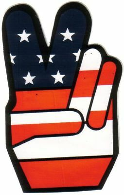 10   Hand Peace Sticker USA stars and stripes     Decal