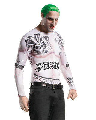 Adult's Mens Joker Suicide Squad Shirt Top With Wig Costume Kit