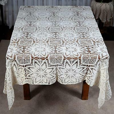 "Off White/ivory Rectangular Crocheted Table Cloth (#10) - Approx. 78"" X 59"""