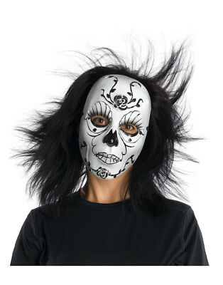 Adult Black And White Dark Rose Macabre Carnival Day Of The Dead Costume Mask