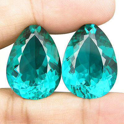 40.80 CT. MATCHING PAIR PEAR CUT GREEN BLUE PARAIBA NANO APATITE 23 x 16.8 MM