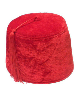 Classic Red Permafelt Shriners Aladdin Fez Hat With Red Tassel