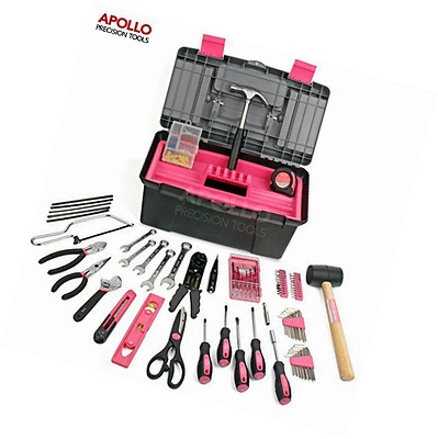Apollo 170 Piece Pink Complete Household Tool Kit with Large Heavy Duty Tool Box