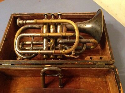 Rare Antique 1890's Cornet Standard Band Instrument Co Boston With Case
