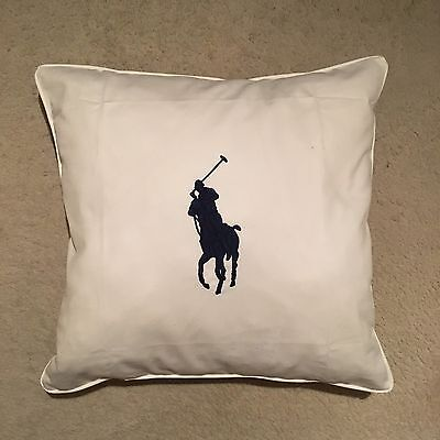 Ralph Lauren Home Polo Player Cushion Cover - White Size 50x50cm RRP: £109.00