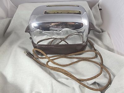 Vtg 1940s Polished Chrome GE Electric Working Toaster w Warmer Mode  No 159T77
