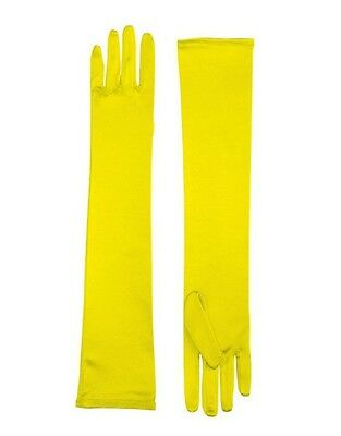 Adult Yellow Opera Super Hero Costume Elbow Length Long Satin Dress Gloves