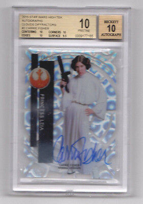 2015 Topps High Tek Carrie Fisher Star Wars Clouds Diffractors Bgs 10 Auto /25