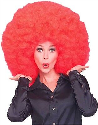New Mens Womens Costume Huge Red Afro Disco Clown Wig