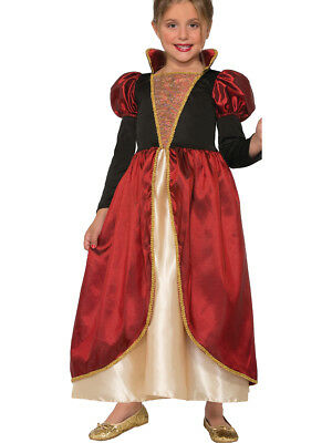 Child's Girls Red Queen Medieval Countess Ruler Dress Costume