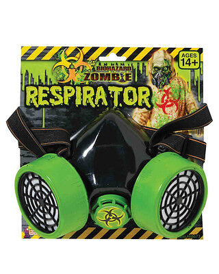 Adult Biohazard Zombie Gas Mask Respirator Green And Black Costume Accessory