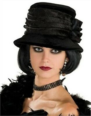 Women's Deluxe Roaring 20s Flapper Girl Black Velvet Hat