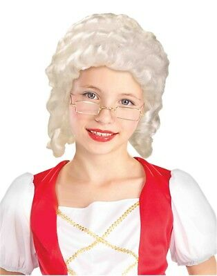Child's White Colonial Girl Settler Pilgrim Magistrate Wig