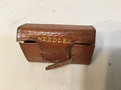 Antique Sewing Needle Box In Book Form With Bird Print Inside Tiny