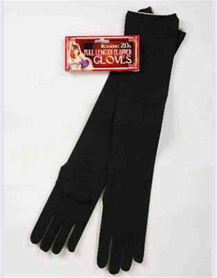 Adult Black Roaring 20s Costume Formal Elbow Length Long Nylon Dress Gloves