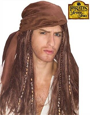 Mens Womens Brown Suede Pirate Do Rag Costume Wig