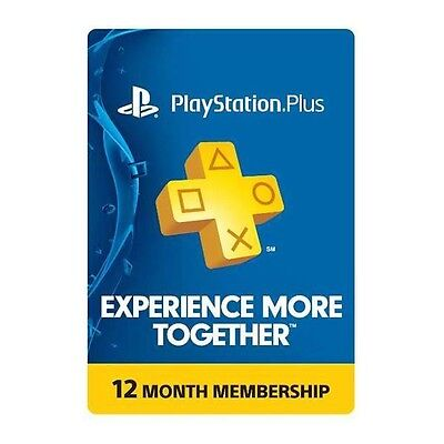 Sony PS PlayStation Plus 1 Year Membership Card for PS4, PS3, PS Vita NEW