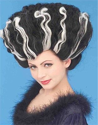 Woman's Deluxe Bride of Frankenstein Monster Black And White Costume Wig