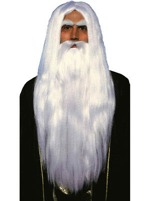 Long White Dumbledore Wizard Costume Wig & Beard Set